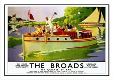 THE NORFOLK BROADS A3 PRINT RAILWAY VINTAGE POSTER SUPERB QUALITY