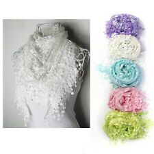 Women Lace Tassel Sheer Metallic Burnt-out Floral Print Triangle Scarf Shawl