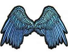 "(A47) Small BLUE ANGEL WINGS 5"" x 3"" iron on patch (3200) Lady Biker"
