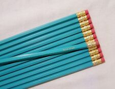 """24 Hexagon """"Light Turquoise"""" Personalized Pencils"""