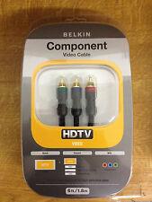 Belkin Negro Componente HDTV Vídeo AV Pura RGB Cable 1,8m Chapado En Oro