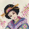 JAPANESE GEISHA girl, Full counted cross stitch kit + all materials needed