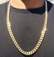 Men's 11mm Gold Plated Grooved Cuban Link Curb Chain Necklace with Diamond Cuts