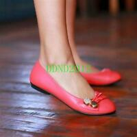 Hot Women's Silp-On Loafers Leather Flats Round Toe Metal Comfortable Shoes SIZE