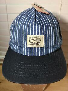 Vtg LEVIS Men's Hickory Blue & White Striped Patch Baseball Hat NWT (U4)