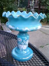 Antique Victorian Blue Opaline Footed ruffled vase w/ HP White Flowers