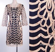 1920's Vintage Dress Gatsby Clubwear Gold Waves Rope Art Deco  Nouveau  AF 3294