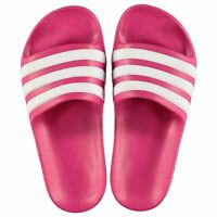 adidas Kids Girls Duramo Sliders Junior Pool Shoes Slip On Strap Stripe