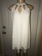 Pre-Owned Love Fire Woman's High Neck Cut Out Gauze Shift Dress White Size L