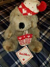"Kris Mutt Stuffed Toy Winter Christmas Plush Dog Vtg Target Knit Cap Mittens 15"""