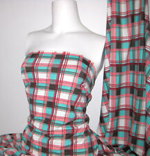 Plaid Print Lycra/Spandex 4 way stretch Matt Finish Fabric