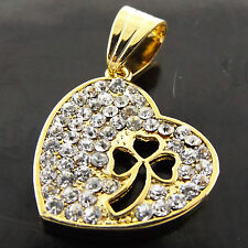 HEART PENDANT REAL 18K YELLOW G/F GOLD DIAMOND SIMULATED 3 LEAF CLOVER DESIGN
