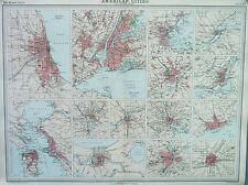 Map of American Cities USA Large 1922 Original Antique
