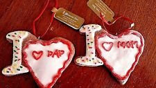 "CHRISTMAS Gingerbread Cookie  ""I LOVE MOM & I LOVE DAD"" ORNAMENTS  Lot of 2 NEW"