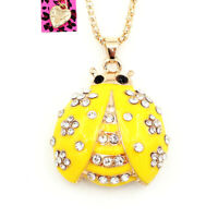 Betsey Johnson Enamel Crystal Ladybird Beetles Pendant Sweater Chain Necklace