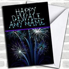 Blue & Purple Fireworks Customized Diwali Greetings Card