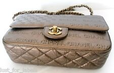 LIMITED Icon CHANEL Metallic Leather Signature Embossed Letter Slogan CC Bag NEW