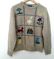Woolrich Vintage Wool Blend Horse Duck Sweater Large L Womens Knit Apple Tree