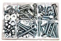 Assorted Box of QTY 150 M10 Hardware Bolts Setscrews Nuts Washers Garage AT101