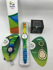 SWATCH OLYMPIC SPECIAL RIO 2016 VOLUNTEER GZ705 IN BOX + 1 PIN 3D + 1 KEYCHAIN