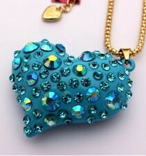 Betsey Johnson Necklace Gold HEART Blue CRYSTALS GIFT BOX Organza Bag