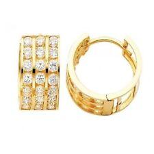 14K Solid Yellow Gold Huggie 3 ROW HOOP Earrings 3-H25Y Cubic Zirconia