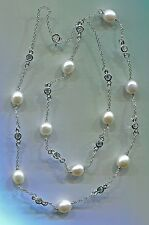 "24"" LONG 925 STERLING SILVER, FRESHWATER PEARL & CZ BY THE YARD NECKLACE"