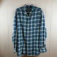 Chaps Men's Size 3XLT Blue Green White Plaid Brushed Flannel Long Sleeve Shirt