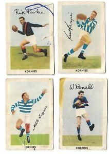 4 x Kornies Football Sports Trading Cards, Trezise, Donald, McKenzie, Fewkes