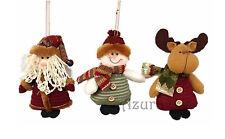 "3pcs 6"" Christmas Xmas Hanging Decorations Ornaments Snowman Santa Reindeer Deer"