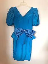 Vintage 80s 90s Party Dress Women's Size 4 Union Made Blue Pantagis Big Sleeves