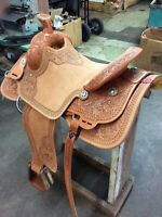 "Western Natural  Leather Hand Carve Roper Ranch Saddle 15"",16""17""18"""