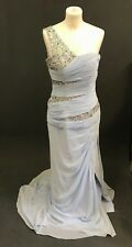 DYLAN QUEEN SHEATH ONE SHOULDER BEADING SWEEP TRAIN CHIFFON PROM DRESS SIZE 10