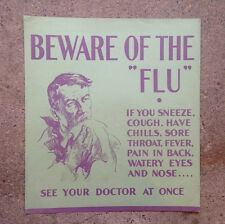"1930's ""FLU"" Poster - Harold Cressingham - Original U.S. Depression era"