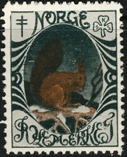 NORWAY . 1914 Christmas Seal (NKS 7) Squirrel on Branch - Mint Never Hinged