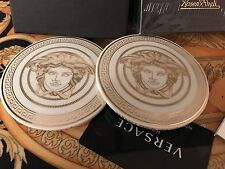 VERSACE MEDUSA GOLD COASTERS SET OF 2 GALA ROSENTHAL NEW BEST PRICE SALE