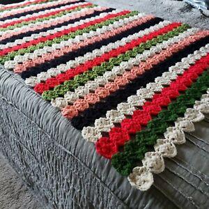 "Handmade Crochet Afghan 56""×38"" Throw Blanket Red/Green/Cream/Coral/Black Stripe"