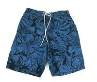 St Johns Bay Mens Floral Print Blue Swim Trunks Shorts Small - $40 - NEW
