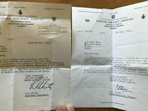 Hawker Aircraft Richmond Road Kingston 1950s / 60s Personnel Letters x2