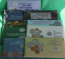 1990 thru 1998 Annual Us Mint Uncirculated P and D Lot of 9 Sets with 91 Coins