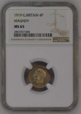1919 GREAT BRITAIN GEORGE V MAUNDY 4 COIN SET: NGC 64/65/65/65.