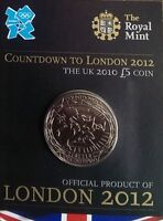 2010 £5 R MINT CROWN COUNTDOWN TO LONDON 2012 2 FIVE POUND 5 COIN UNCIRCULATED b