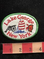 LAKE GEORGE New York Patch - Cannon Native American Indian & Boat 83K