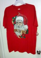 Holiday Time Men's Red Graphic Christmas Tee - Santa Face - BELIEVE - Size: XL