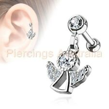 CZ Angel Cartilage Tragus Dangle Ear Ring Bar Piercing Stud Body Jewellery