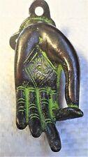 Solid brass Indian hand door knocker.Gothic antique style.