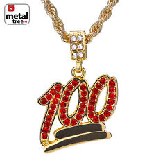 """Men's 14K Gold Plated Iced Out 100 Red Stone Pendant 24"""" Rope Chain HC 1069"""