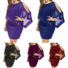 Plus Size Women Bodycon Shawl Summer Evening Party Formal Prom Ball Short Dress