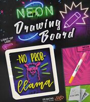 NEON DRAWING BOARD WITH PENS SHAPE STAMPS KID WRITING PAINTING LED XMAS FUN GIFT