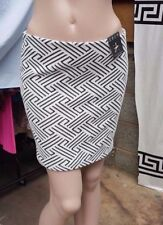 BNWT Atmosphere Black & White Check Patterned Solid Stretchy Short Skirt t UK 8